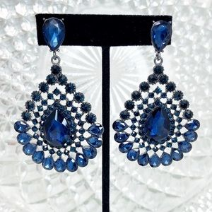 Prom Pageant Bridal Jewelry - Navy Blue Chandelier Prom Pageant Formal Earrings